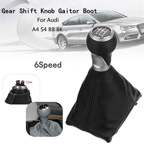 ZREED Schaltknauf 6 Geschwindigkeits-Auto-Handbuch Schaltknauf PU-Leder-Abdeckung for Audi A4 S4 8K A5 8T Q5 8R S-Line 2007-2015 Für Autos (Color : Black)