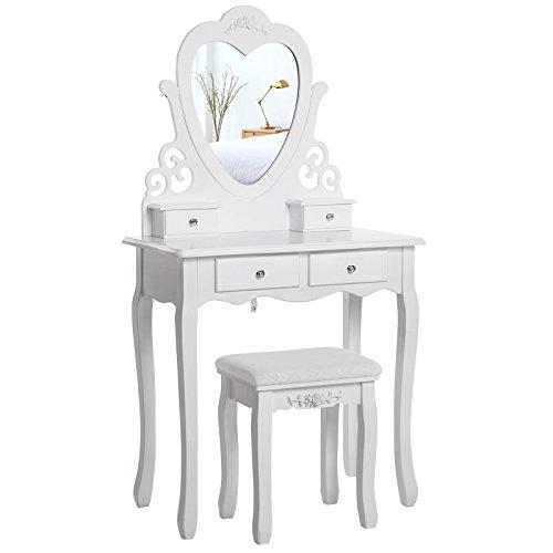 SONGMICS Tavolo da Toletta con Specchio a Forma di Cuore, Tavolo da Trucco, Comò per Cosmetici con Sgabello, Bianco RDT14W