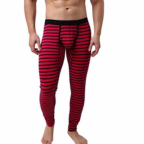 VRTUR Herren Hosen Gestreiftes Atmen Patchwork Leggings Mit Niedrigem Bein Lange Unterhosen Thermalhose(Medium,Rot)