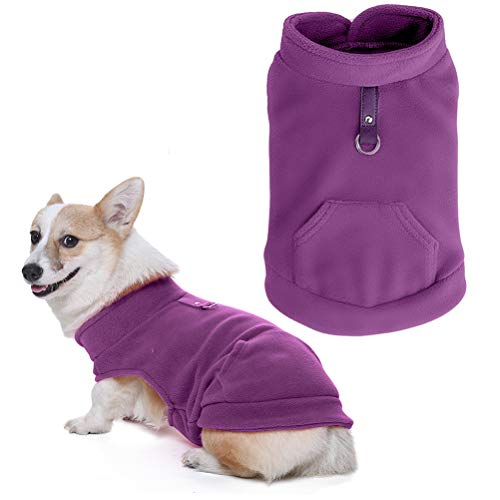 Dog Warm Fleece Vest Winter Jacket with Pocket Fluffy Coat Dogs Harness Clothes for Autumn and Winter, Purple Large