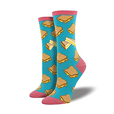 Socksmith Womens' Novelty Crew Socks Grilled Cheese - 1 pair,Turquoise,9-11