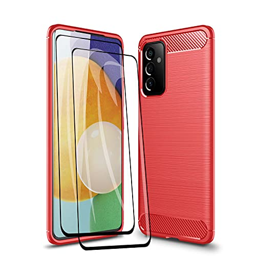 WEIOU Fibra de Carbono Funda para Samsung Galaxy M32 + 2 Cristal Templado, Carcasa Protectora Antigolpes Suave TPU Silicona Caso Resistente a los Arañazos. Roja