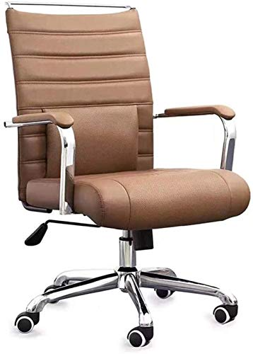 MUBAY Silla de Oficina Ergonomica Levantando Silla de Oficina, mobiliario de Oficina Xipi, Ordenador Silla giratoria con reposacabezas, Presidente del Empleado (Color : Brown)