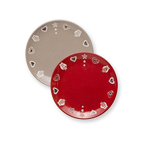 Brandani 54090 Incanto Stoneware - Juego de 2 piezas, diseño de lunares, color gris