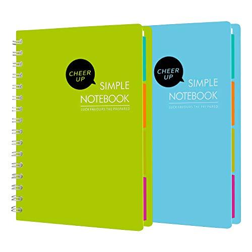 Cheer Up Spiralnotizbuch, 4 Fächer, A5, Spiralbindung, Notizbücher für Büro und Studenten, 240 Seiten, 2 Stück (blau + grün)
