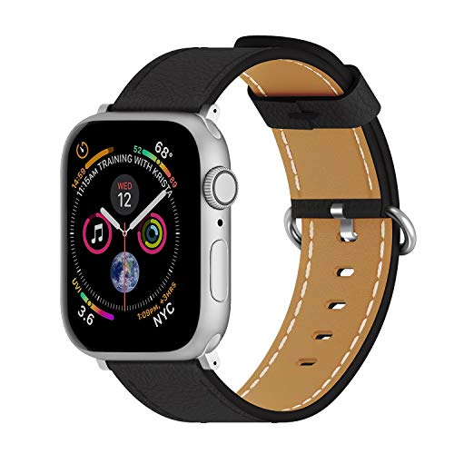 ARTCHE Cowhide Leather 44mm 42mm Watch Strap for Apple Watch Sports Replacement Band Vintage Wristband Belt, Compatible with iWatch Series 6 SE 5 4 3 2 1, for Men Women, Black