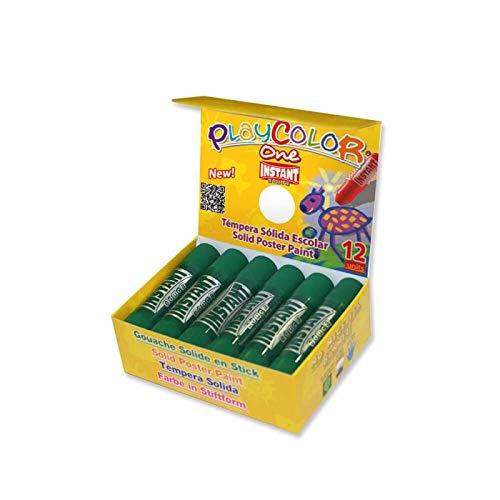 Sticks de Peinture Gouache Solide 10g - Playcolor - Basic One - Couleur Vert Foncé - 12 pces - 10841