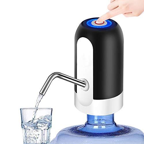 Wodgreat Universal Flaschen-Wasserspender,Elektrischen Trinkwasserpumpe,USB-Ladekabel,Stück Lebensmittel Silikonschlauch,Abnehmbar,automatischer Wasserspender für Zuhause,Büro und Outdoor Schwarz