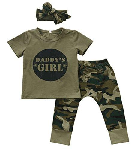 Tuta Mimetica neonata Bimba Bambina con Spalle Arricciate + Pantaloni con Risvolto Denim Pant + Set di Vestiti per Neonato Fascia