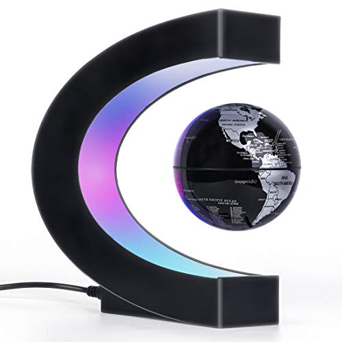 Magnetic Levitation Floating Globe, Unique Dad Birthday Gift, Home Office Decor for Men/Boss/Teacher, Cool Tech Gifts for Men Who have Everything, Desk Toys Fun Gadgets for Boyfriend (Black)