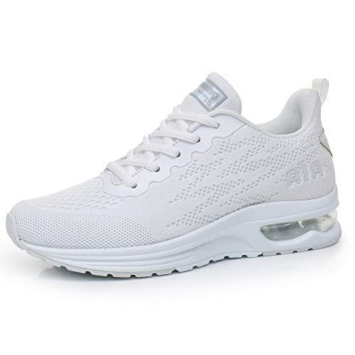 Dannto Zapatos Deporte Mujer Zapatillas Deportivas Correr Gimnasio Casual Zapatos para Caminar Mesh Running Transpirable Aumentar Más Altos Sneakers (Blanco-C,37)