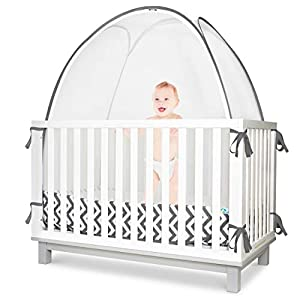 crib bedding and baby bedding kindersense - baby safety crib tent - premium toddler crib topper to keep baby from climbing out - see through mesh crib net - mosquito net - pop-up crib tent canopy to keep infant in