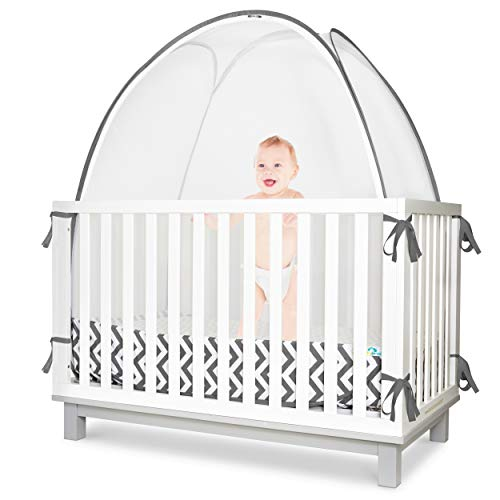 Baby Safety Crib Tent - Premium Toddler Crib Topper to Keep Baby from Climbing Out - See Through Mesh Crib Net - Mosquito Net - Pop-Up Crib Tent Canopy to Keep Infant in by KinderSense