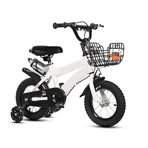 Caixia, Bici per Bambini Biciclette for Bambini Ampliamento della Rotella Assist 2-10 Anni Ragazzi e Ragazze con Flash Ruote Pedale della Bicicletta (Color : White, Size : 12 Inches)