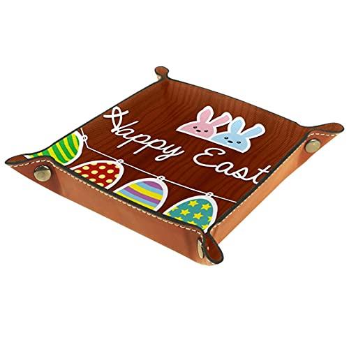 AITAI Bandeja de valet de cuero vegano, organizador de mesita de noche, placa de almacenamiento para escritorio, diseño de conejo de Pascua y huevo de fondo de madera