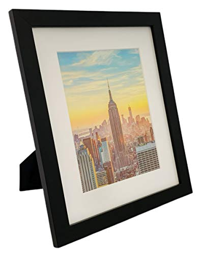 Frame Amo 10x12 Black Picture Frame, White Mat for 7x9 Image, 1 Inch Border, Glass Front, for Wall or Table (1)