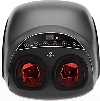 Shiatsu Foot Massager Machine with Heat - Electric Feet Massager & Adjustable Deep Kneading Rolling Air Compression for Foot Pain Relief & Circulation - Remote Included - Fits Feet Up To Men Size 12