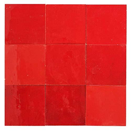 Zellige rojo brillante 10 x 10 cm – 100 unidades
