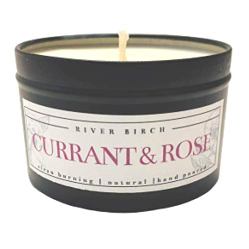 Currant & Rose | Highly Scented Candles for Men & Women | All-Natural Non-Toxic Soy Candles, Scented Candles | Tin Travel Candle | Relaxing Aromatherapy Matte Black 8 oz