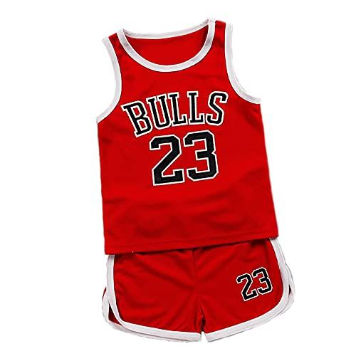 IFYG Los niños de baloncesto trajes grandes de los deportes de los niños trajes de baloncesto chalecos ropa infantil niños y niñas 90 cm rojo 1