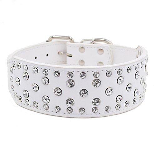Generisches Hundehalsband Strasshalsband Halsbänder mit klein groß Strass 38-61cm Halsumfang 5cm Breit für große Hunde Hunter, Weiß L