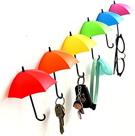 Generic Umbrella Key Hat Wall Multipurpose Holder Hanger Hooks (Multicolour)-3 Pieces