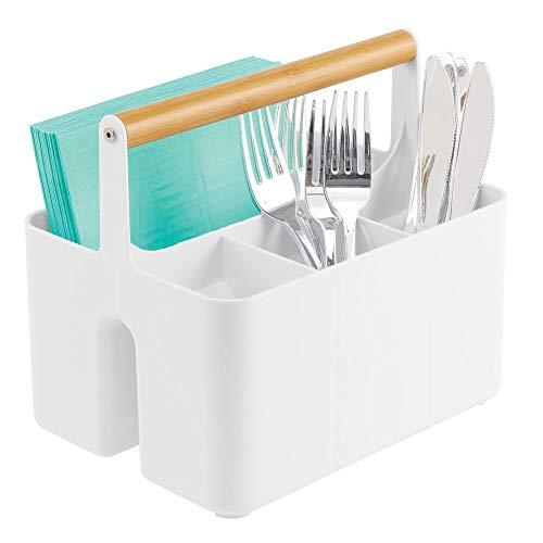 mDesign Caja organizadora para la cocina – Caja de almacenamiento portátil con asa de madera – Cesta organizadora con 4 compartimentos, ideal como cubertero y servilletero – blanco y natural