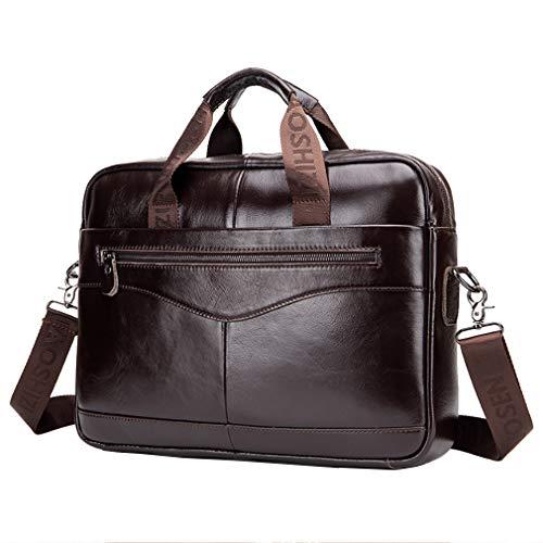 Bolso bandolera de cuero para negocios, maletín, bolso para hombres, lleva toda la protección para computadora portátil, para computadora de 14 pulgadas, bandolera, bolsa para el hombro café