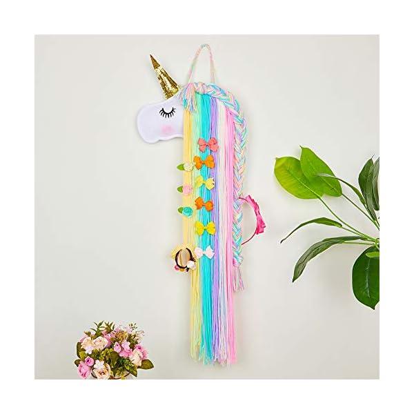 Beinou Unicorn Hair Clips Holder Rainbow Yarn Tassels Hair Bows Storage Shy Unicorn Face Headband Organizer Unicorn… 5