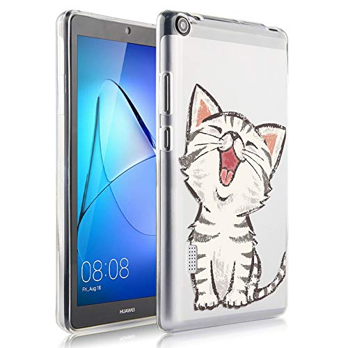 ZhuoFan Huawei Mediapad T3 7 inch Case, Cover Silicone Translucent with Pattern Slim Shockproof Soft Gel TPU Shell Sleeve Skin for Huawei Mediapad T3 7' Tablet, Laughing Cat