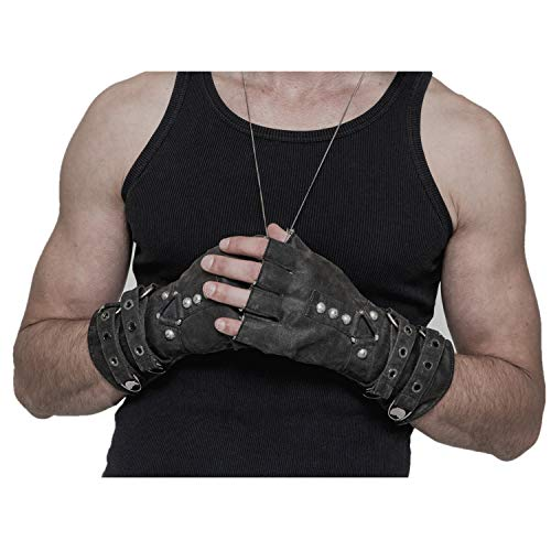 Punk Rave Steampunk Fingerless Motorcycle Faux Leather Gloves for Men Accessories Grey L-3XL