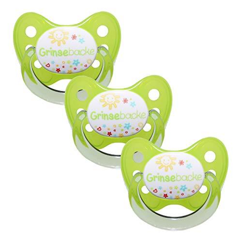 Dentistar® Schnuller 3er Set - Baby Nuckel Silikon in Größe 2, 6-14 Monate - zahnfreundlich & kiefergerecht - Beruhigungssauger für Babys - Made in Germany - BPA frei - Grün Grinsebacke