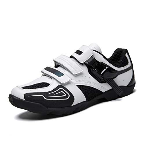 HONG YU Zapatillas de Ciclismo sin enchufes Hombre Mujer Racing Zapatillas MTB Ciclo Sneaker Otoño Invierno Nentry Nivel Single Zapatos Pareja Zapatos (Color : White, Size : 42)