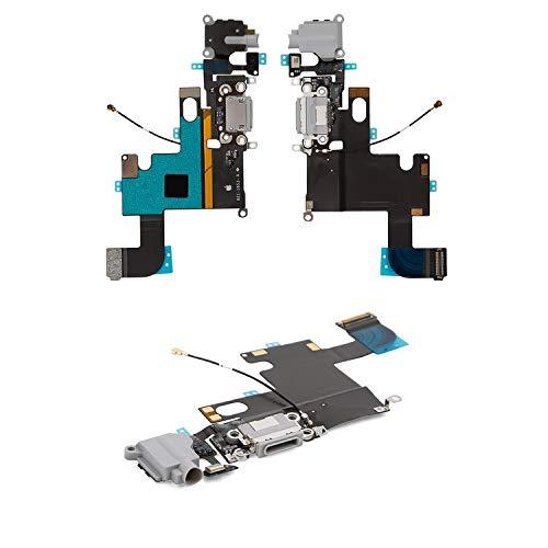 Flex Cable Reparación Piezas de Repuesto Compatible con iPhone 6, (conector de auriculares, conector de carga, blanco, con micrófono, con componentes)
