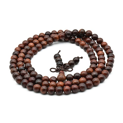Zen Dear Unisex Natural Rosewood Prayer Beads Buddha Buddhist Prayer Meditation Mala Necklace Bracelet (6mm 108 Beads)