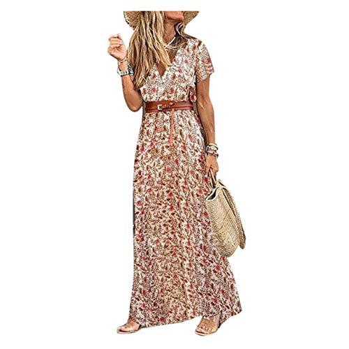 GKXAZ Donna V Manica Corta Paisley Stampa Cintura Grande Vestito dalla Spiaggia di Estate del...