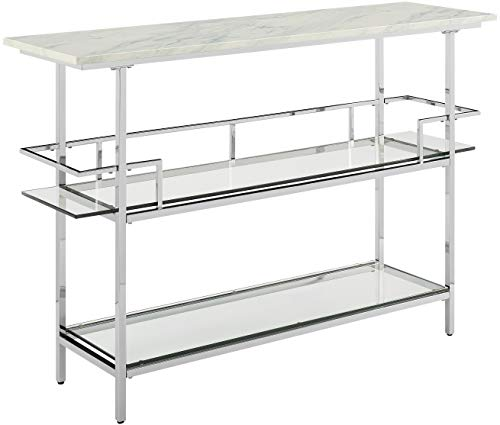 Crosley Furniture Aimee Bar with Paper Marble Top, Chrome Finish