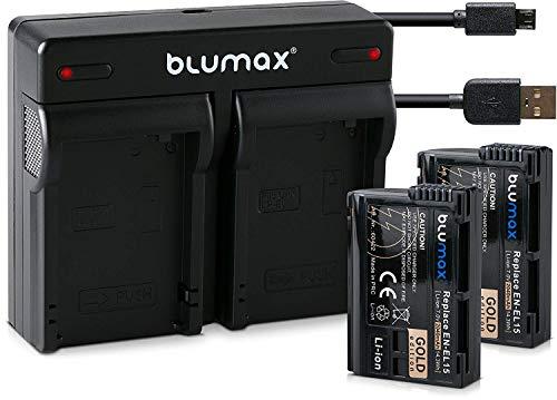 Blumax 2X Gold Akku 2040mAh für Nikon EN-EL15/EN-EL15a + Mini Dual-Ladegerät USB für D7500 D850 D7200 D500 D7000 D750 D610 D810e D7100 D600 D800 D810 Nikon 1 V1