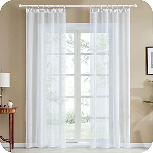 Topfinel Voile Vorhänge mit Kräuselband in Leinen-Optik Transparent für Wohnzimmer Schlafzimmer Fenster Einfarbige Gardinen Weiß 2er Set je140x175cm (BxH)