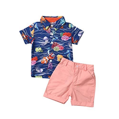 Bebé Niño Traje de 2 Piezas Conjunto Top Camisa de Manga Corta Pantalón Corto Camiseta con Estampado Infantil Ropa Verano de Playa para Vacaciones (Oceano, 12-18 Meses)