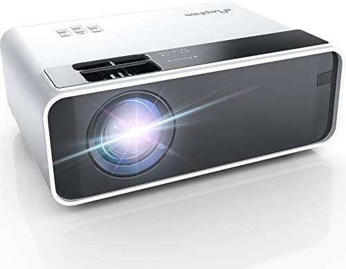 Elephas Mini Proiettore, Videoproiettore 5000 Lumen, di Proiettore Portatile a LED per Home Theater, Supporto 1080P, Compatibile con PS4, PC via HDMI, VGA, TF, AV, and USB (white)