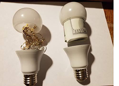 x2 Secret Stash Spot-Diversion Safe Light Bulb-Hidden Compartment by Deals n Sight
