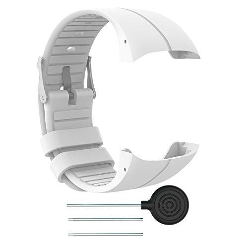LOKEKE Correa de silicona de repuesto para reloj Polar M400 GPS, para reloj Polar M400 GPS y Polar M430, unisex, GPS, para correr, color blanco
