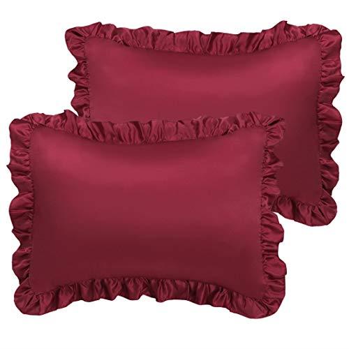 PICCOCASA Satin-Kissenbezüge für Haar und Haut, 2er-Pack, gerüschte Kissenbezüge, Oxford-Kissenbezüge mit Hotelverschluss Standard burgunderfarben