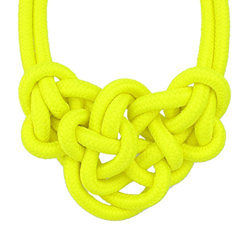 Feelontop Fashion Neon Color Knitted Rope Fashionable Choker Necklace for Women with Jewelry Pouch