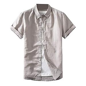 メンズ リネン シャツ スタンドカラー 綿麻シャツ おしゃれ 純色 シャツ 春夏 カジュアル ワイシャツ 通勤 通学 通気 清涼 簡約スタイル ホワイト シャツ