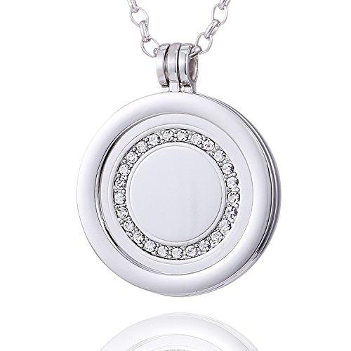 Morella Damen Halskette 70 cm Edelstahl und Anhänger mit Coin Glitzersteinring Silber in Schmuckbeutel