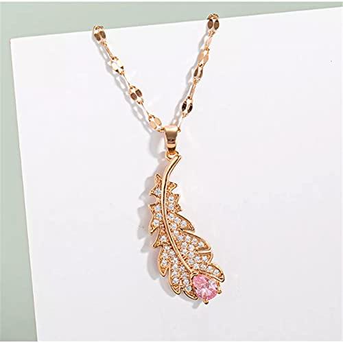 RTEAQ Moda Collar Joyas Gargantilla Collar de Acero de Titanio de Cristal de Moda con Colgante de Pluma Rosa de Acero Inoxidable para Mujer Parejas Fiesta San Valentín Cumpleaños Regalos