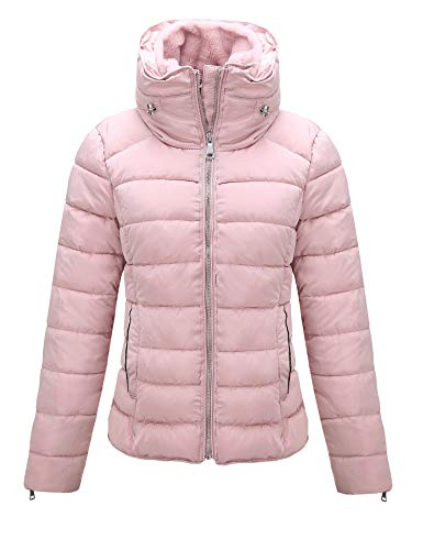 Bellivera Women's Quilted Lightweight Padding Jacket, Puffer Coat Jackets Women for Fall and Winter 1712019 Pink M