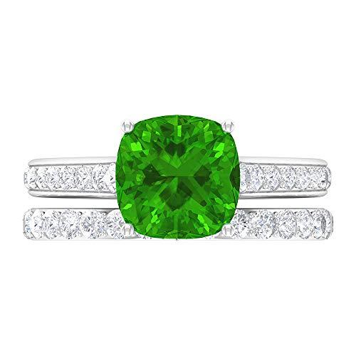 Anillo de novia solitario, 8,5 mm, anillo de Tsavorita creado en laboratorio, anillo de eternidad de Moissanita D-VSSI, anillo de piedra lateral (calidad AAAA), oro blanco de 14 quilates, talla: UK G